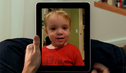 iPad mockup showing videochat with my son
